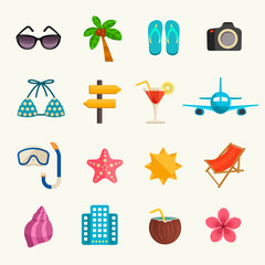 Summer vacations icon set