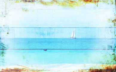 Double exposure image of sailboat at horizon on the sea and wood