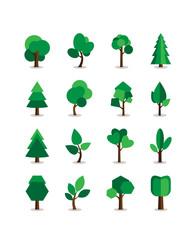 Wall Mural - Set of tree symbols