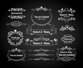 Chalkboard calligraphic frames, page dividers, scrolls and