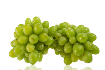 green grapes close-up on a white background