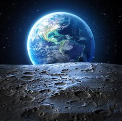 Wall Murals Nasa blue earth view from moon surface - Usa