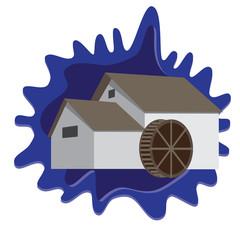 water mill on blue splash background