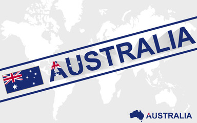 Australia map flag and text illustration