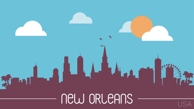 New Orleans USA skyline silhouette vector illustration