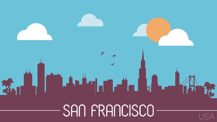 San Francisco USA skyline silhouette flat design vector