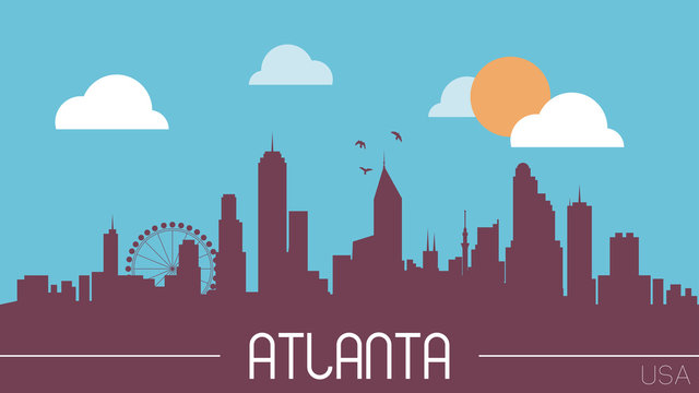 Atlanta USA skyline silhouette flat design vector