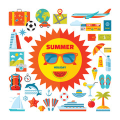 Summer holiday - vector icons set in flat style design