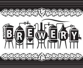 monochrome design of brewery elements