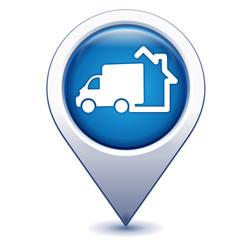 Fototapete - livraison à domicile sur marqueur géolocalisation bleu
