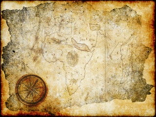 aged paper treasure map with compass