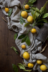 group of fresh lemons with leaves on wooden table with grater