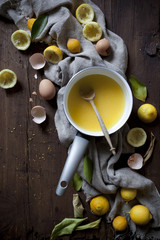 preparation of lemon curd with ingredients on wooden table