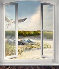 Fototapete - Ferienhaus in den Dünen am Meer