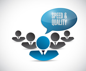 speed and quality people sign illustration