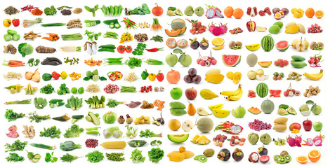 Wall Murals Vegetables set of vegetable and fruit on white background
