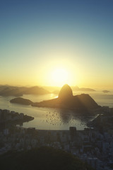 Rio de Janeiro Brazil Golden Sunrise Sugarloaf Mountain