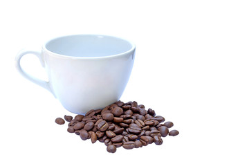 Wall Murals Cafe Coffee cup and beans on a white background.