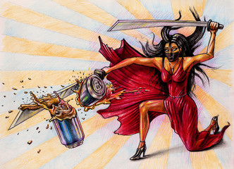 Lady destroys the jar by sword - illustration on paper - comics