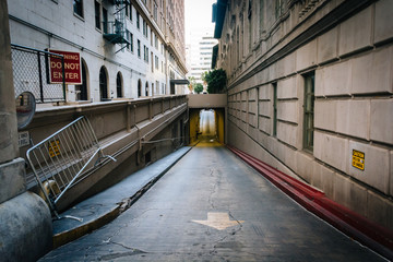 Alley and tunnel in downtown Los Angeles, California.