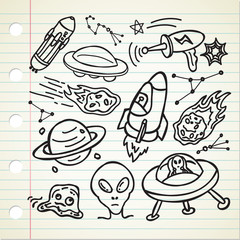 set of alien stuff doodle