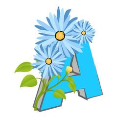 Vector A Alphabet with Flower