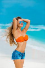 Portrait of beautiful woman on the beach.