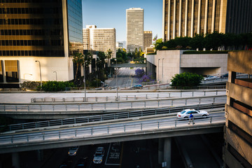View of bridges over Flower Street, in downtown Los Angeles, Cal