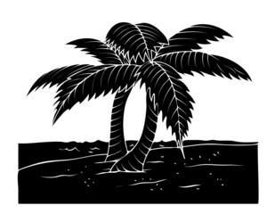 Black Shape Coconut Trees Landscape