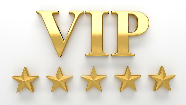 VIP - Very important person - gold 3D render on the wall backgro