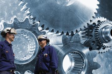 Wall Mural - cogwheels and gear engineering in titanium