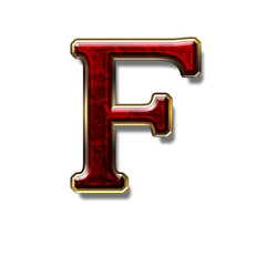 Letter F - precious stone is red