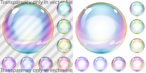 Set of multicolored transparent and opaque soap bubbles