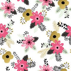 Beautiful seamless pattern with spring flowers.