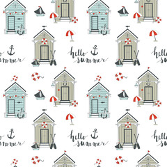 Summer seamless pattern with beach huts. Vector illustration.