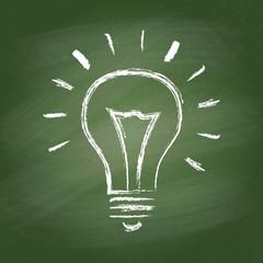 Light bulb vector idea chalk icon on green chalkboard
