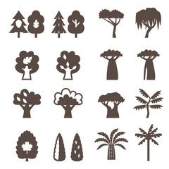 Trees icon set. Silhouette.