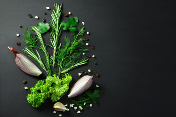 Black food background with fresh aromatic herbs and spices, view
