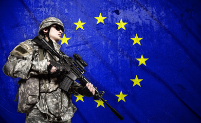 soldier on European Union flag background