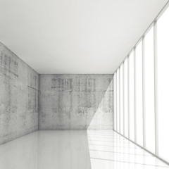 Abstract 3d architecture background, empty white interior