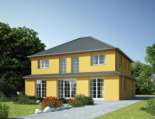 Haus Staffel gelb mit Strossenfenster