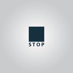 Stop button vector icon. Flat design style