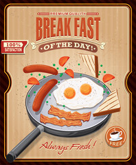 Vintage breakgast poster design with bacon, eggs sausage on pan
