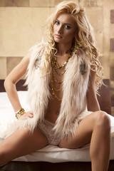 Beautiful and sexy woman wearing elegance fur