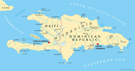 Hispaniola Political Map with Haiti and Dominican Republic