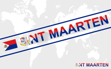 Sint Maarten map flag and text illustration