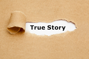 True Story Torn Paper Concept