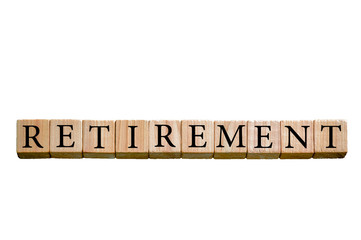Word RETIREMENT isolated on white background with copy space