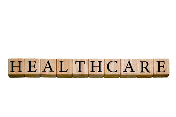 Word HEALTHCARE isolated on white background