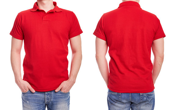 Young man with red polo shirt